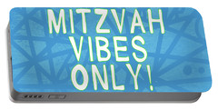 Mitzvah Vibes Only Blue Print- Art By Linda Woods Portable Battery Charger