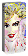 Portable Battery Charger featuring the drawing MM by Desline Vitto