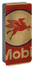 Mobil Oil Gas Station Sign Vintage Art Portable Battery Charger