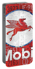 Mobil Oil Gas Station Vintage Sign Recycled License Plate Art Portable Battery Charger