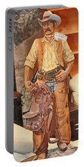 Portable Battery Charger featuring the photograph Model Of Western Cowboy by Jay Milo