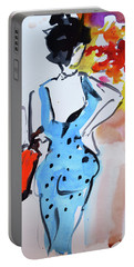 Model With Flowers And Red Handbag Portable Battery Charger by Amara Dacer