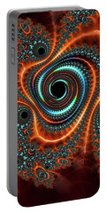 Portable Battery Charger featuring the digital art Modern Abstract Fractal Art Orange Cyan by Matthias Hauser