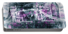 Portable Battery Charger featuring the photograph Modern-art London Tower Bridge And Big Ben Composing  by Melanie Viola