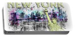 Modern Art New York City Skyline Splashes - Yellow Portable Battery Charger