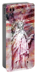 Portable Battery Charger featuring the photograph Modern-art Statue Of Liberty - Red by Melanie Viola