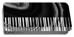 Modern Black And White Piano - Sharon Cummings Portable Battery Charger