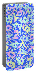 Modern Design With Random Colorful Numbers With Shadow Edges On A Blue Background  Portable Battery Charger