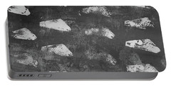 Portable Battery Charger featuring the painting Modern Fossil Grayscale by Robin Maria Pedrero