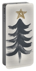 Modern Primitive Black And Gold Tree 1- Art By Linda Woods Portable Battery Charger