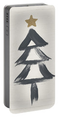 Modern Primitive Black And Gold Tree 2- Art By Linda Woods Portable Battery Charger