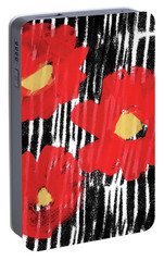 Portable Battery Charger featuring the mixed media Modern Red Flowers- Art By Linda Woods by Linda Woods