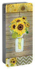 Modern Rustic Country Sunflowers In Mason Jar Portable Battery Charger by Audrey Jeanne Roberts