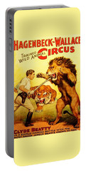 Portable Battery Charger featuring the digital art Modern Vintage Circus Poster by ReInVintaged