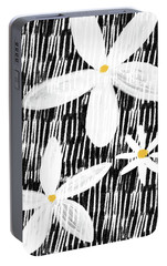 Portable Battery Charger featuring the mixed media Modern White Flowers- Art By Linda Woods by Linda Woods