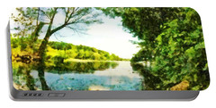 Portable Battery Charger featuring the photograph Mohegan Lake By The Bridge by Derek Gedney