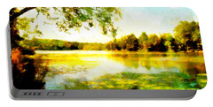 Portable Battery Charger featuring the painting Mohegan Lake Hidden Oasis by Derek Gedney