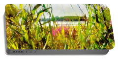 Portable Battery Charger featuring the painting Mohegan Lake In The Brush by Derek Gedney