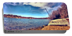 Portable Battery Charger featuring the painting Mohegan Lake Lonely Boat by Derek Gedney