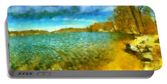 Portable Battery Charger featuring the painting Mohegan Lake Panoramic Beach by Derek Gedney