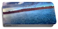 Portable Battery Charger featuring the painting Mohegan Lake Panoramic Lake by Derek Gedney