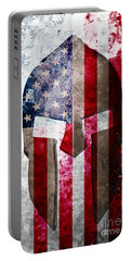 Molon Labe - Spartan Helmet Across An American Flag On Distressed Metal Sheet Portable Battery Charger