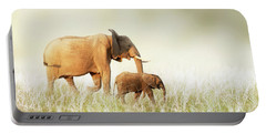 Mom And Baby Elephant Walking Through Tall Grass Portable Battery Charger