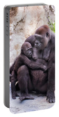 Mom And Baby Gorilla Sitting Portable Battery Charger by Stephanie Hayes
