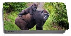 Mom And Baby Gorilla Portable Battery Charger by Stephanie Hayes