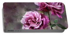 Portable Battery Charger featuring the digital art Moms Roses by Susan Kinney
