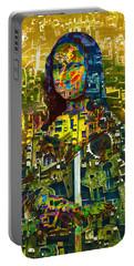 Portable Battery Charger featuring the mixed media Mona by Tony Rubino