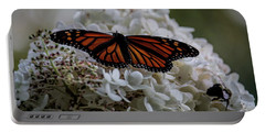 Monarch Butterfly Feeding On Hydrangea Tree Portable Battery Charger