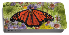 Monarch Butterfly On Purple Flowers Watercolor Batik Portable Battery Charger