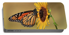 Monarch Butterfly On Sun Flower Portable Battery Charger