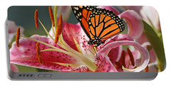 Monarch On A Stargazer Lily Portable Battery Charger