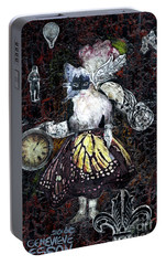 Portable Battery Charger featuring the mixed media Monarch Steampunk Goddess by Genevieve Esson