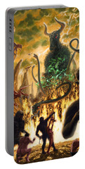 Portable Battery Charger featuring the digital art Monday In Hell With Devil by Martin Davey
