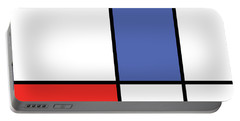 Mondrian Style Minimalist Pattern In Blue And Red Portable Battery Charger