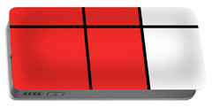 Mondrian Style Minimalist Pattern In Red Portable Battery Charger