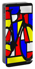 Portable Battery Charger featuring the painting Mondrianesque Road Bike by Sassan Filsoof