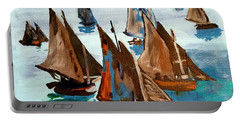 Monet Fishing Boats Calm Seas Portable Battery Charger by Scott D Van Osdol