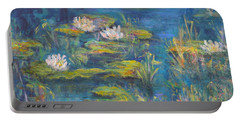 Monet Style Water Lily Marsh Wetland Landscape Painting Portable Battery Charger