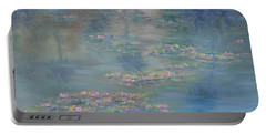 Monet Style Water Lily Peaceful Tropical Garden Painting Print Portable Battery Charger