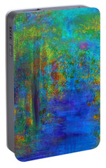 Portable Battery Charger featuring the painting Monet Woods by Claire Bull