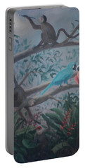 Monkey Artist Painting The Moon  Portable Battery Charger