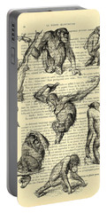 Monkeys Black And White Illustration Portable Battery Charger