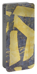 Portable Battery Charger featuring the drawing Mono Print 005 - Broken Steps by Mudiama Kammoh