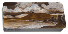Portable Battery Charger featuring the painting Monochrome Maui by Darice Machel McGuire