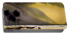 Portable Battery Charger featuring the painting Monsoon Seashore And Fishing Boats by Samiran Sarkar