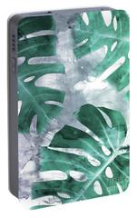 Monstera Theme 1 Portable Battery Charger by Emanuela Carratoni
